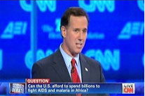 Rick Santorum defends foreign assistance at CNN debate