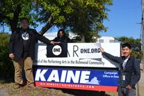 Sunshine or rain, we must deliver postcards to Tim Kaine!