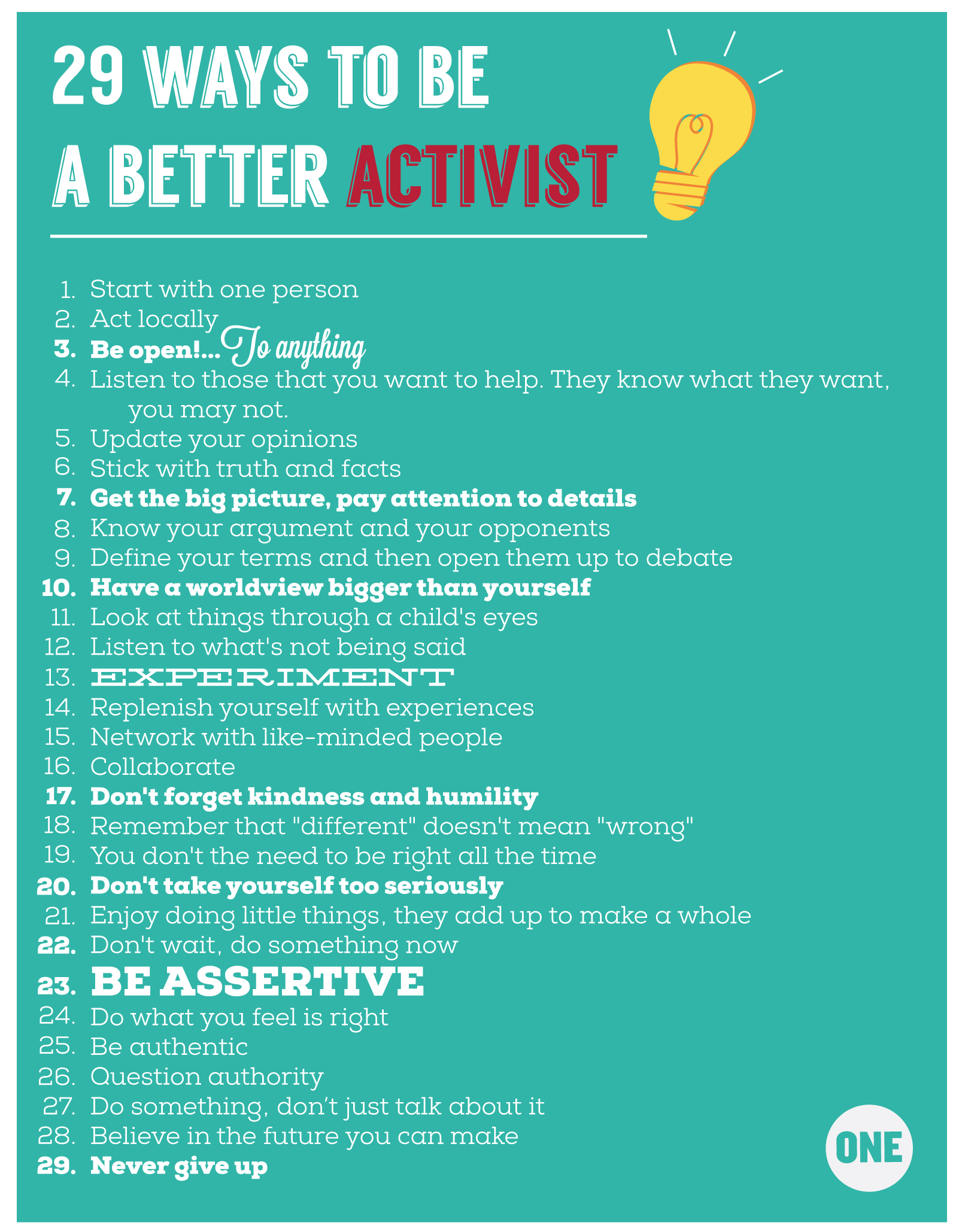 Infographic 29 Ways To Be A Better Activist One One