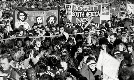 Demonstrators outside South African Embassy London During An Anti Apartheid Rally