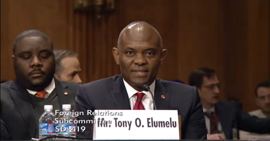 "Tony Elumelu testifies at a hearing entitled ""Powering Africa's Future: Examining the Power Africa Initiative,"""