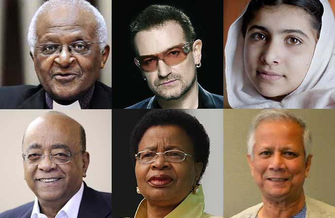 Cl;ockwise from top left: Archbishop Emeritus Desmond Tutu, Bono, Malala Yousafzai, Muhammed Yunus, Graca Machel, and Mo Ibrahim.