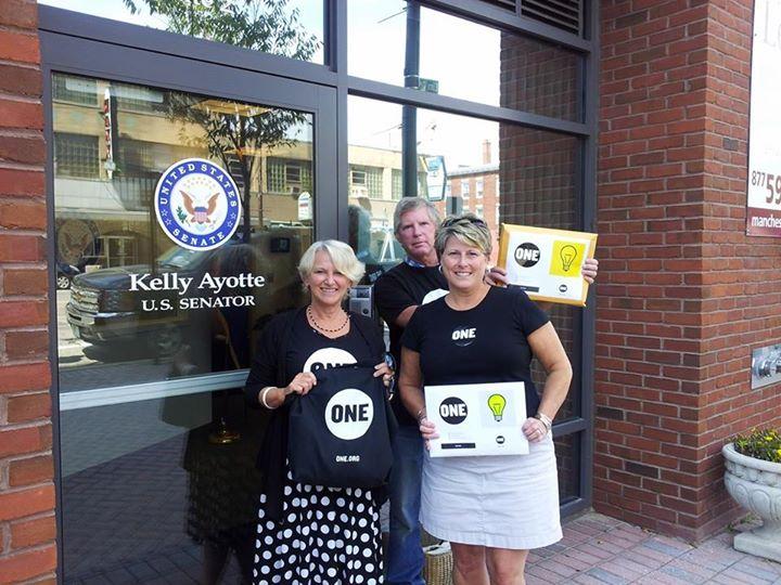 Melissa Mattice Fraser, Tim Cofran, and Susan C. Pillsbury delivering letters & postcards to Senator Ayotte's Manchester, NH office.