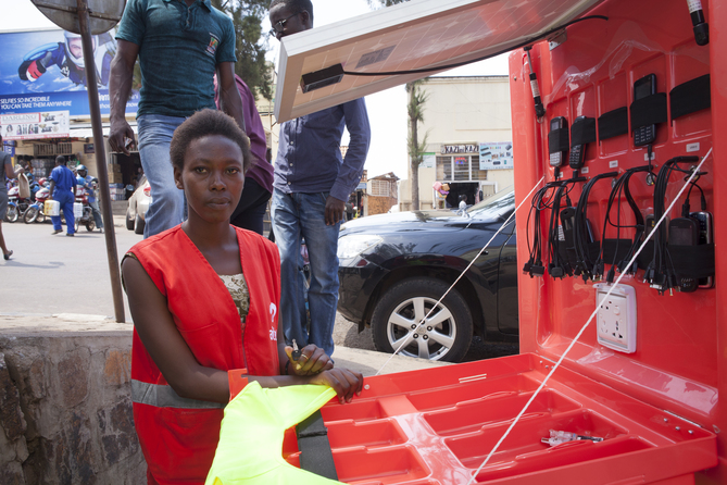 Image result for solar powered kiosk rwanda
