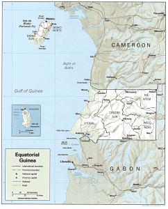 A map of Equatorial Guinea.