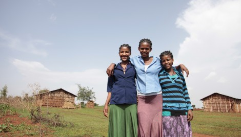 Fifteen-year-old Mantegbosh (far left) is now in school in Ethiopia—and unmarried—thanks to DFID support. (Photo credit: Sheena Ariyapala/Department for International Development)
