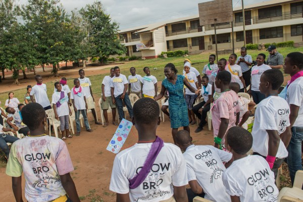The 2015 Camp GLOW/Bro in Volta region of Ghana which was held during the week of August 24, 2015. The camp was organized by a group of Peace Corps volunteers from all over the country. Each volunteer sponsored at least one girl or boy to partake in the week-long camp. The camps are designed to cover a variety of topics including, but not limited to, girls empowerment, gender equality, HIV/AIDS, and malaria. GLOW is an acronym for Girls Leading our World and BRO is an acronym for Boys Respecting Others. (Photo credit: Peace Corps)