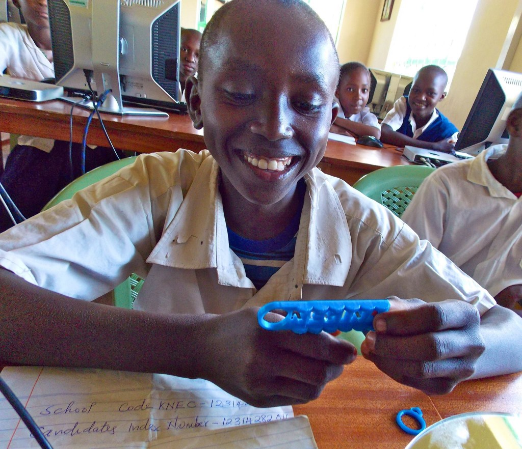 Participating in LUV's Global Inventors (3D printing course) is not only motivating students at Kenya Connect to become more engaged in their studies, but also equipping them with important skills. (Photo credit: Kenya Connect)