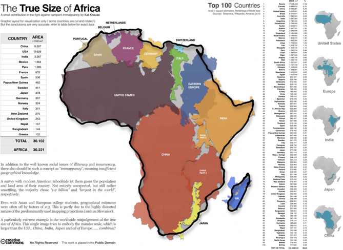 One 8 maps that will change the way you look at africa one you know the african continent is pretty big but how big the infographic above created by kai krause uses some of the largest countries in the world gumiabroncs Gallery
