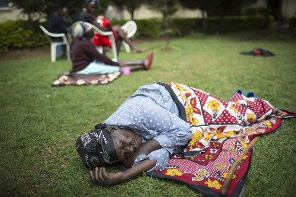 Women suffering from Fistula are seen resting in the gardens of a health clinic in Eldoret, Kenya on April 30, 2015.