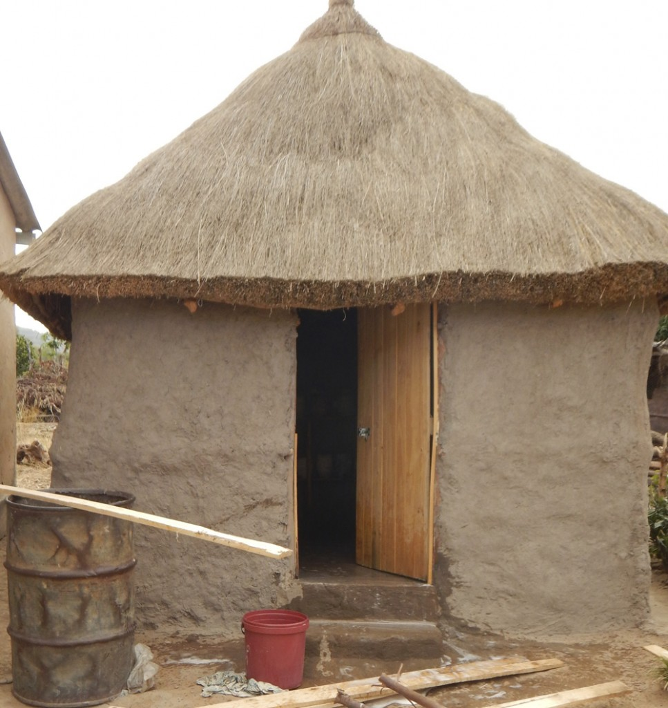 APRIL - Mushroom house made out of mud, wood and grass by local women and men in Marange