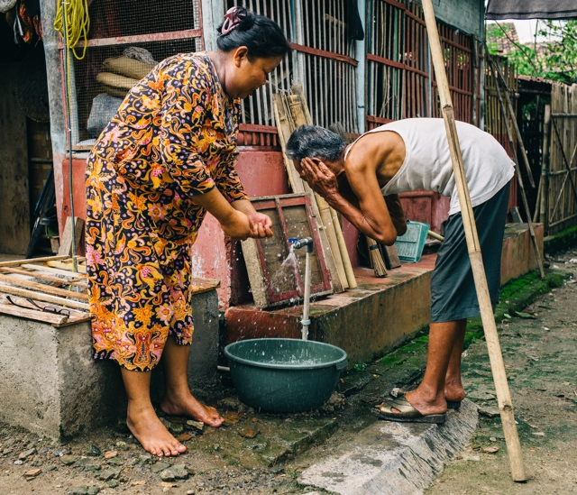 Suminah and her family once had to rely on an insufficient shallow borewell for water, but this new tap has made their lives much easier.