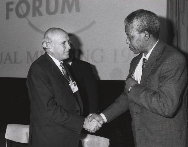 Frederik de Klerk with Nelson Mandela, 1992