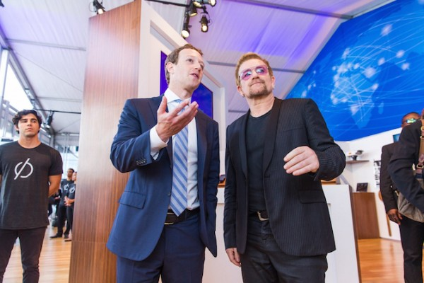 Mark Zuckerberg, left, and Bono at an innovation space at the United Nations. Photo credit: Facebook