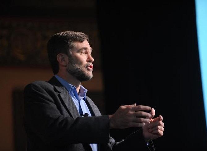 Steve Radelet speaking at TEDxGeorgetown. Photos credit: Leslie E. Kossoff/Georgetown University