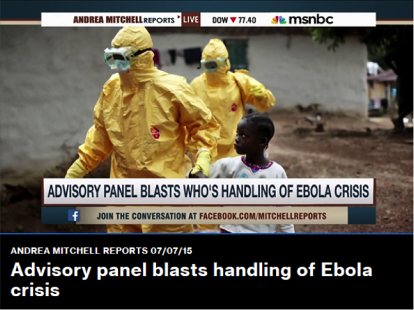 """A ONE report on the ebola crisis was featured on """"Andrea Mitchell Reports"""" on July 15, 2015. Click to read """"When Losing Track Means Losing Lives,"""" which contains the video of Andrea Mitchell's report. (Photo credit: MSNBC)"""