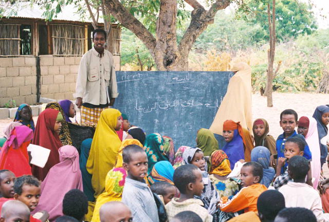 An outdoor school at the Dadaab Somali refugee camp in Kenya.
